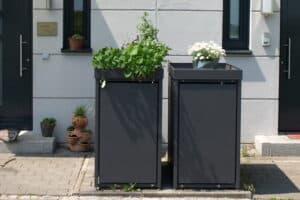 1er Muelltonnenbox Alu ohne Lochung Pflanzdach