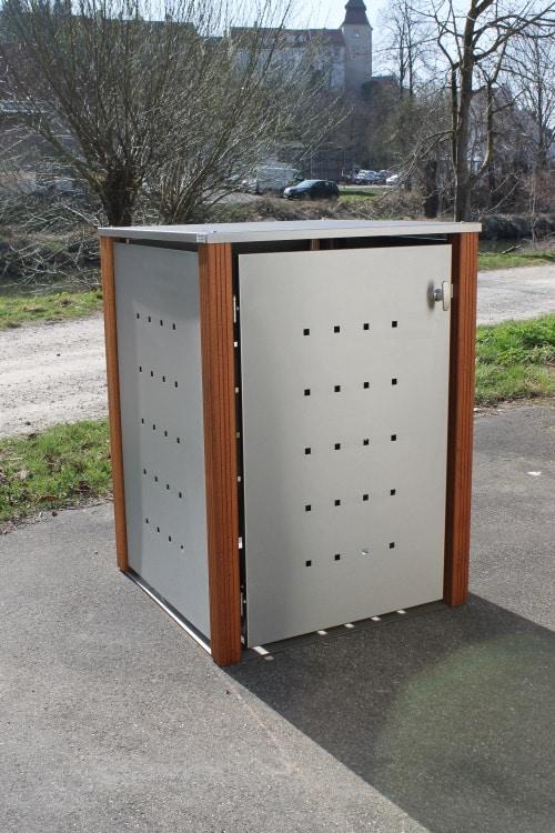 1er Muelltonnenbox Edelstahl Bangkirai Flachdach