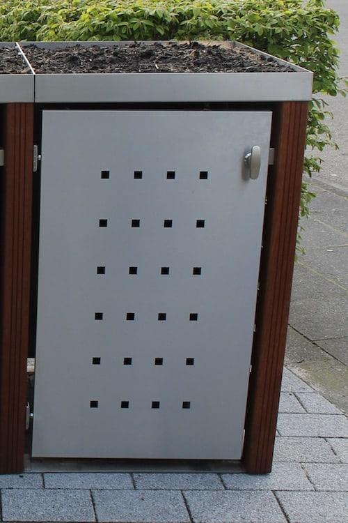1er Muelltonnenbox Edelstahl Bangkirai Pflanzdach