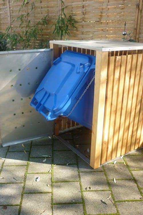 1er Muelltonnenbox Holz Laerche Edelstahltuer Flachdach