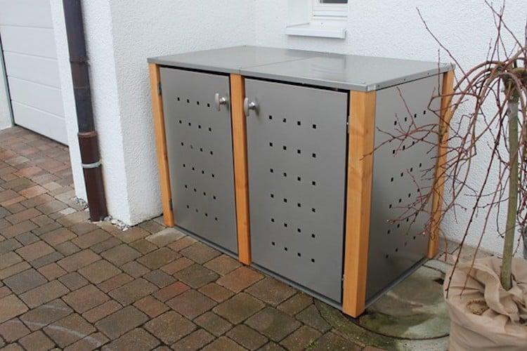 Flachdach für 2er Mülltonnenbox mit Lärchepfosten