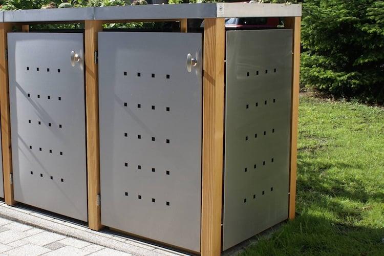 Pflanzdach für Mülltonnenbox mit Lärchepfosten