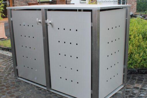 2er Muelltonnenbox Edelstahl Vierkantpfosten Flachdach