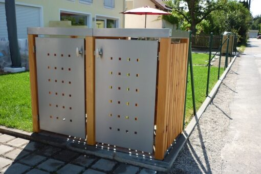 2er Muelltonnenbox Holz Laerche Edelstahltuer Pflanzdach