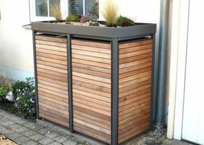 2er Muelltonnenbox Holz Laerche mit Alu Pflanzdach