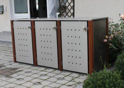 3er Muelltonnenbox Edelstahl Bangkirai Flachdach