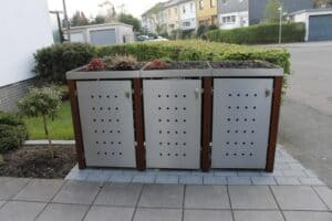 Mülltonnenbox Edelstahl Bangkiraipfosten - Mülltonnenbox Bangkirai