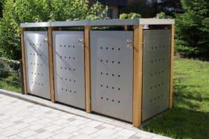 3er Muelltonnenbox Edelstahl Laerchepfosten Pflanzdach