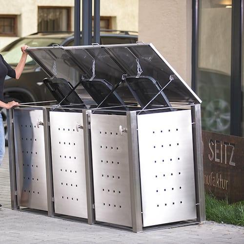 3er Muelltonnenbox Edelstahl Rundpfosten Klappdach offen