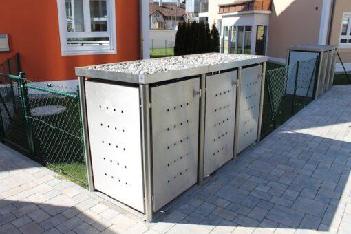 3er Muelltonnenbox Edelstahl Rundpfosten Pflanzdach