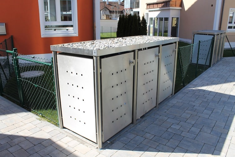 Pflanzwanne für Mülltonnenbox mit Rundpfosten