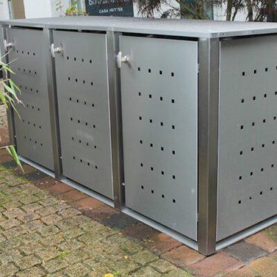 3er Muelltonnenbox Edelstahl Vierkantpfosten Flachdach