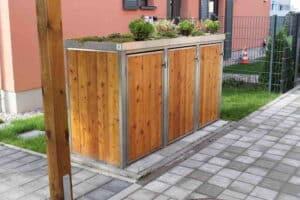 3er Muelltonnenbox Holz Laerche Edelstahlrahmen Pflanzdach