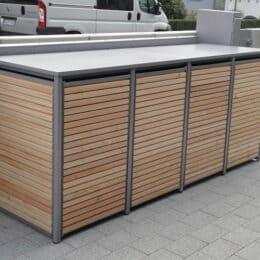 Mülltonnenbox Holz Lärche mit Alu