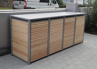 4er Muelltonnenbox Holz Laerche mit Alu Flachdach