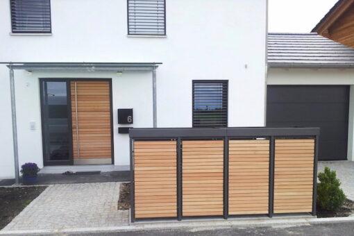 4er Mülltonnenbox Holz Lärche mit Alu Pflanzdach