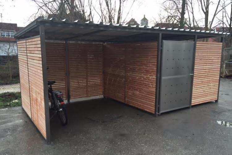 garage f r fahrrad fahrradgarage fahrradunterstand von zaun fackler. Black Bedroom Furniture Sets. Home Design Ideas