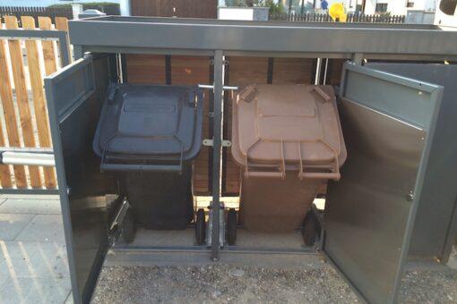 Mülltonnenbox Holz Lärche mit Alu Kippvorrichtung