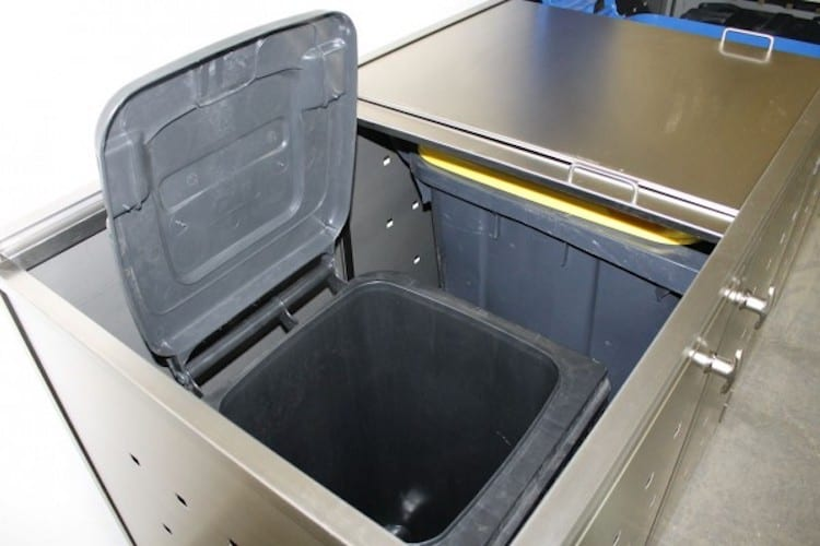 Mülltonnenbox Edelstahl und Schiebedach