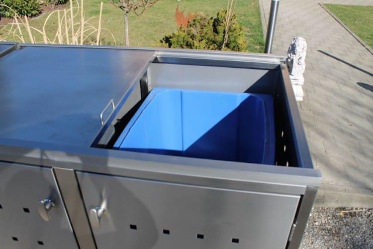 4er Mülltonnenbox mit Schiebedach