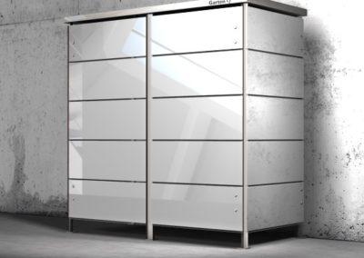 Mülltonnenbox Glas breite Streifen