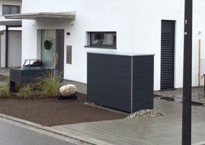 Mülltonnenbox Trash Anthrazit breite Streifen 2er