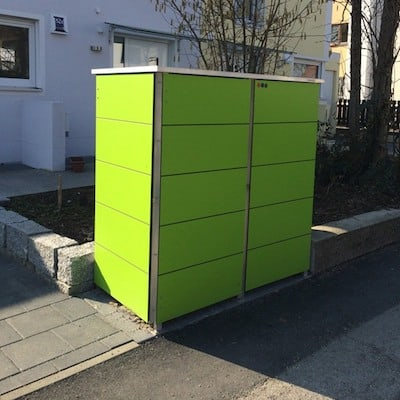 Mülltonnenbox Trash Lime Green Pflanzdach