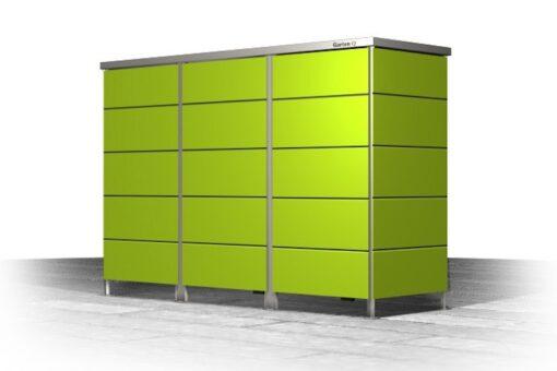 Mülltonnenbox Trash Lime Green Flachdach