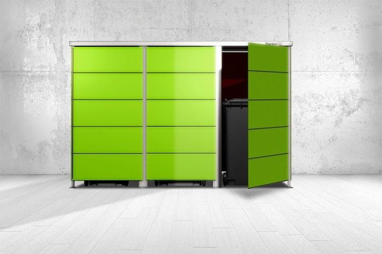 Mülltonnenbox Trash Lime Green breite Streifen