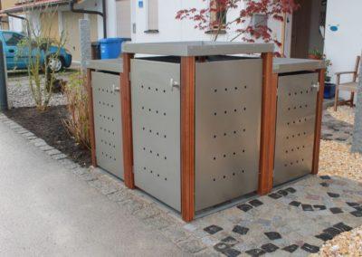 1er Mülltonnenbox Edelstahl Bangkiraipfosten Pflanzdach