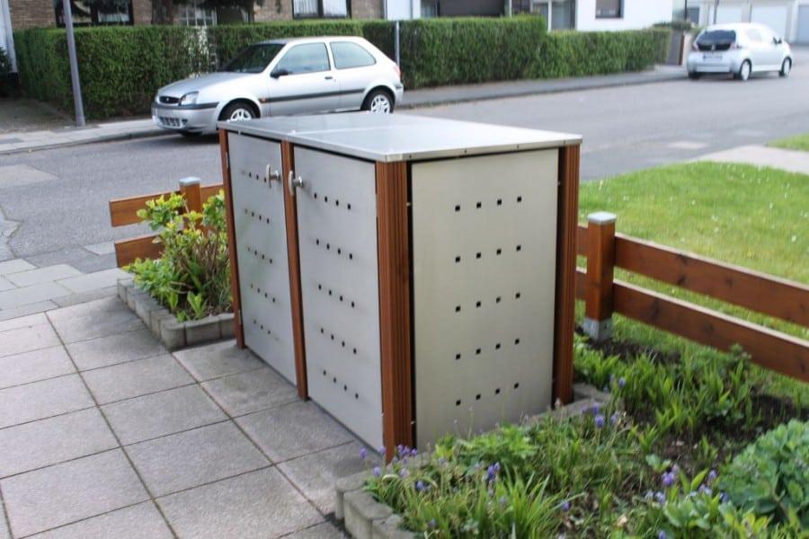 2er Mülltonnenbox Edelstahl Bangkiraipfosten Flachdach