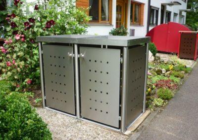 2er Mülltonnenbox Edelstahl Pflanzdach Rundpfosten