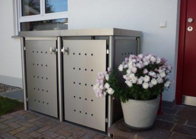 2er Mülltonnenbox Edelstahl Rundpfosten Pflanzdach