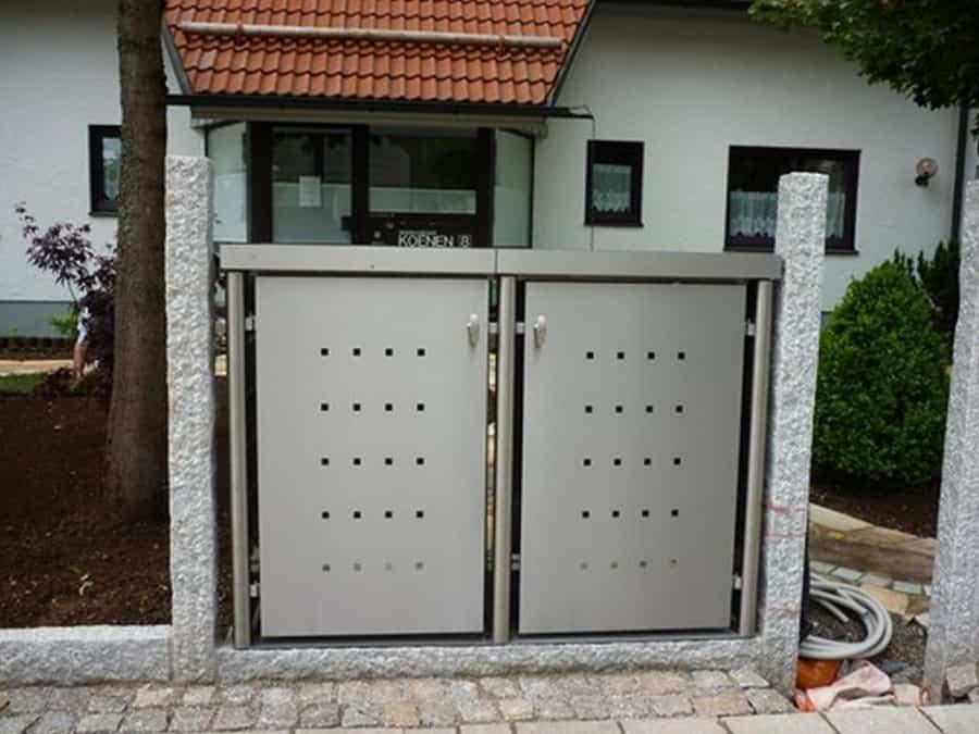 2er Mülltonnenbox Edelstahl Rundpfosten Pflanzdach eingebaut