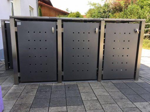 2er Mülltonnenbox Edelstahl Vierkantpfosten Flachdach Anthrazit