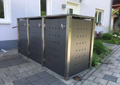 2er Mülltonnenbox Edelstahl Vierkantpfosten Flachdach Anthrazit seitlich