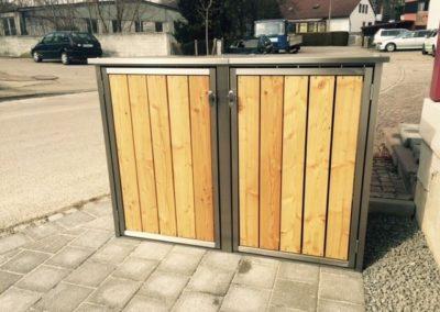 2er Mülltonnenbox Lärche Douglasie Flachdach