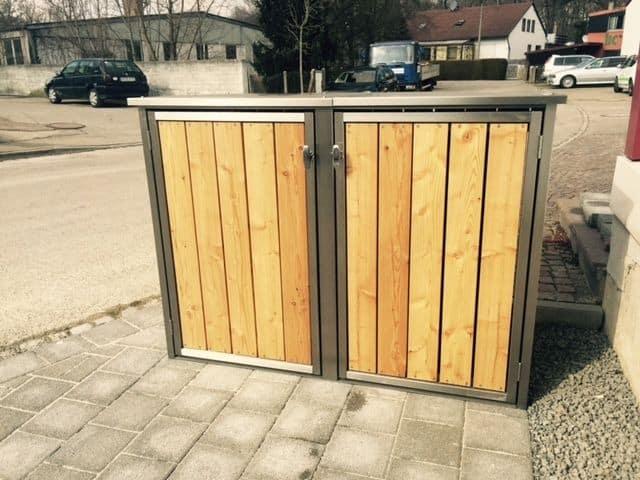 Abstellflächen von Mülltonnenbox Edelstahl