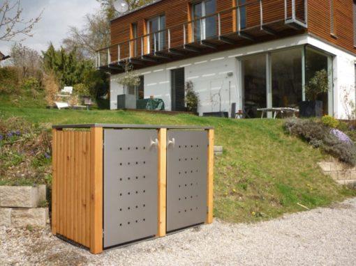 2er Mülltonnenbox Lärche Edelstahltür Flachdach