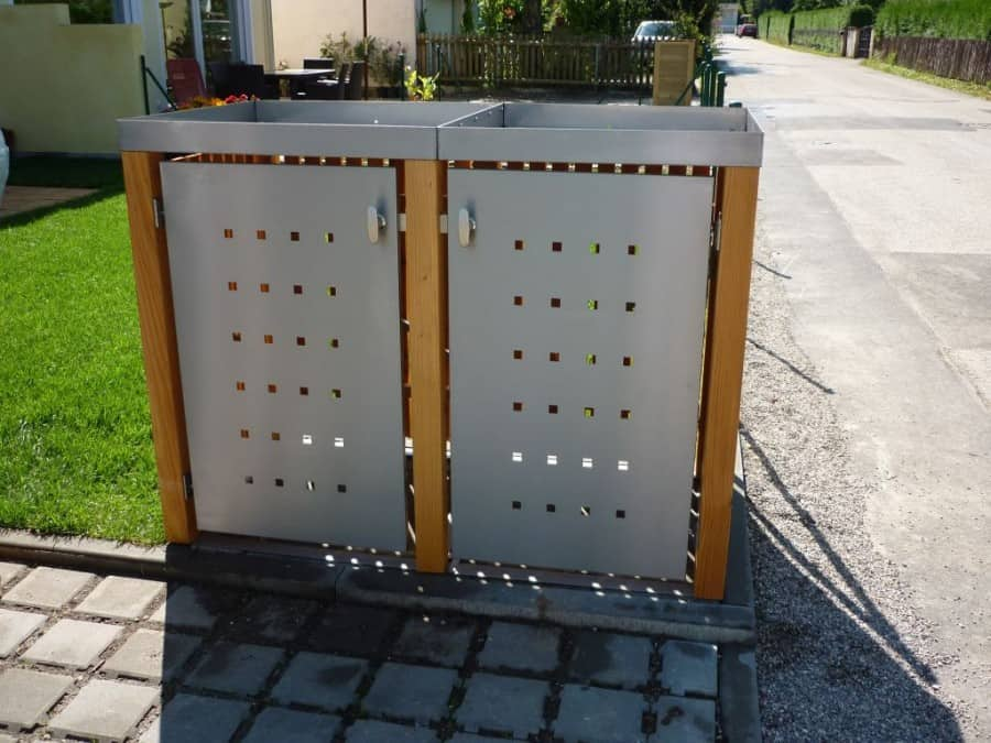 2er Mülltonnenbox Lärche Edelstahltür Pflanzdach