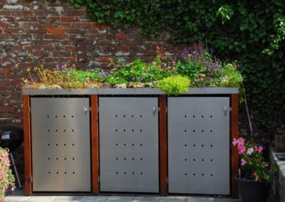 3er Mülltonnenbox Edelstahl Bangkiraipfosten Pflanzdach