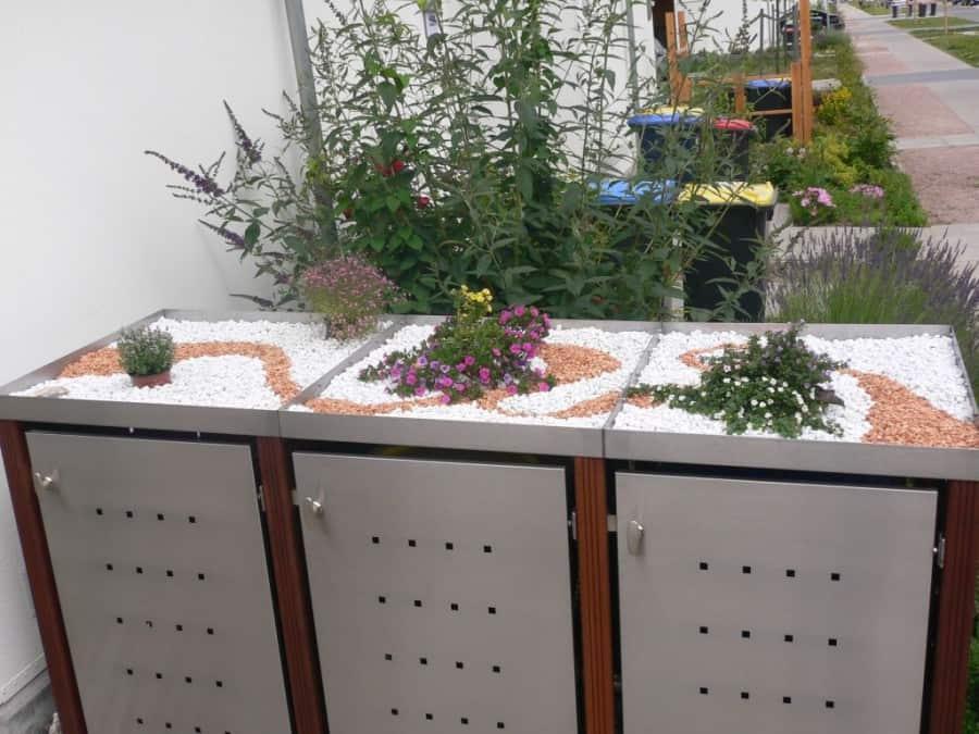 3er Mülltonnenbox Edelstahl Bangkiraipfosten Pflanzdach Front