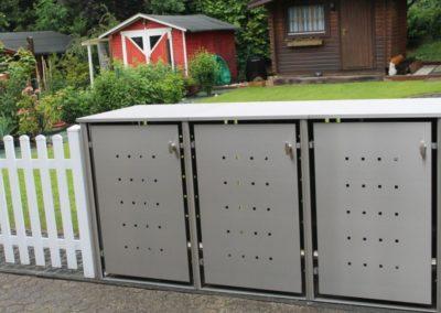 3er Mülltonnenbox Edelstahl Flachdach Rundpfosten