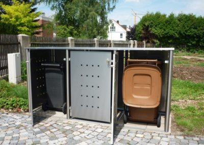 3er Mülltonnenbox Edelstahl Flachdach Rundpfosten offen