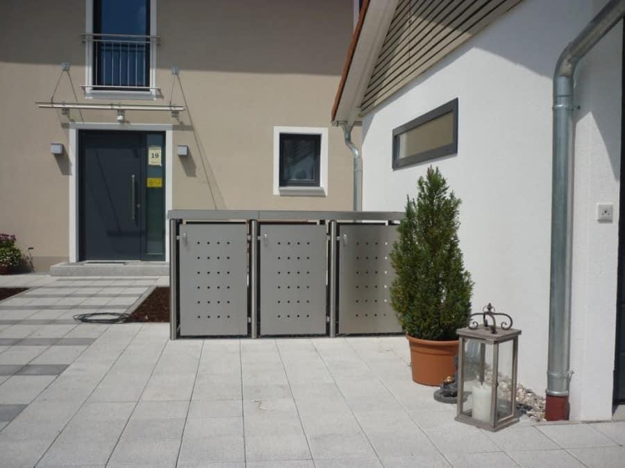 3er Mülltonnenbox Edelstahl Rundpfosten Pflanzdach Einhausung