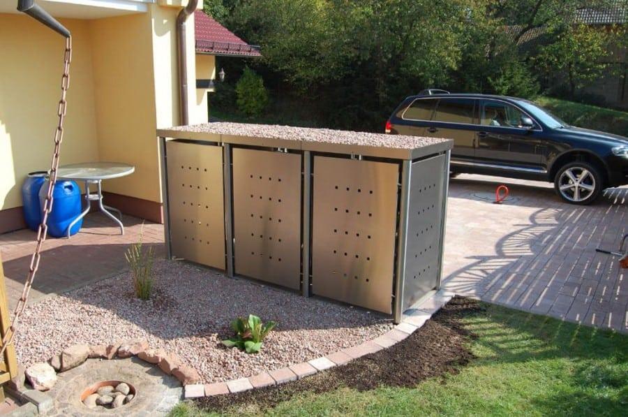 3er Mülltonnenbox Edelstahl Rundpfosten Pflanzdach Front