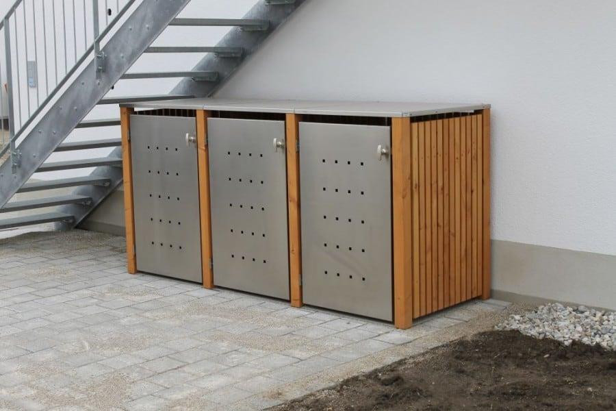 3er Mülltonnenbox Lärche Edelstahltür Flachdach