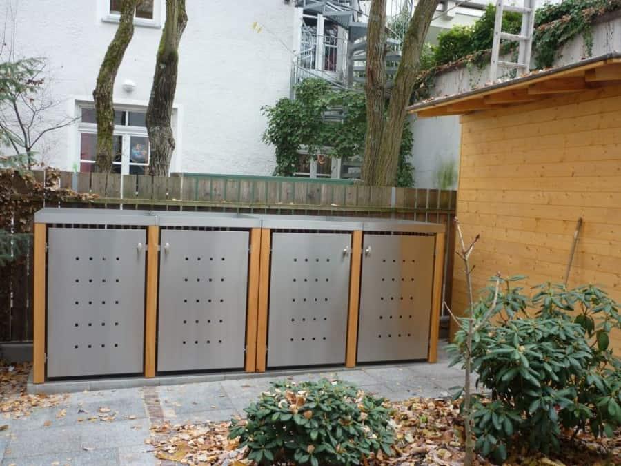 4er Mülltonnenbox Lärche Edelstahltür Pflanzdach