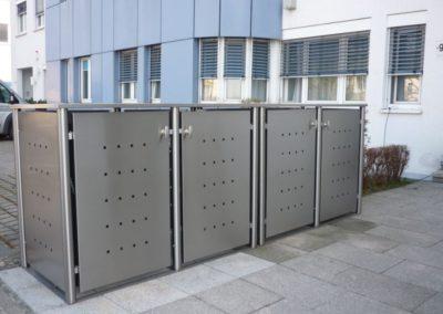 4er Mülltonnenbox Edelstahl Rundpfosten