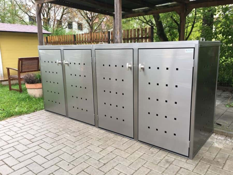 4er Mülltonnenbox Edelstahl Schiebedach